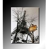 Tableau toile décorative à l'huile de Paris - La tour Eiffel vue d'en bas - 40x50cm