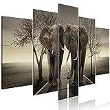 decomonkey Bilder Elefant Tiere 200x100 cm 5 TLG. Leinwandbilder Bild auf Leinwand Vlies Wandbild Kunstdruck Wanddeko Wand Wohnzimmer Wanddekoration Deko Baum