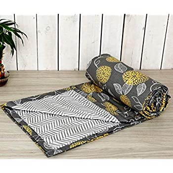 Trance Home Linen Cotton Double Dohar 84x90inches (Grey Yellow Abstract)