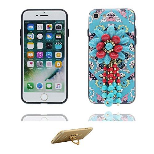 """iPhone 6 6s Hülle Cover, 3D Blume Bead Zubehörteil, TPU Flexible Uniquedesigned Nationaler Stil Slim Bling, iPhone 6 Handyhülle 4.7"""", iPhone 6S case 4.7"""" Kratzer beständig und Ring Ständer Stylish # 1"""