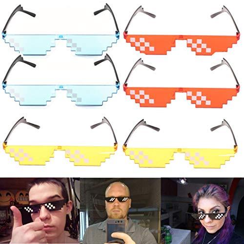 BuTi Mosaico Gafas Gafas pixeladas Sol Fiesta Gafas
