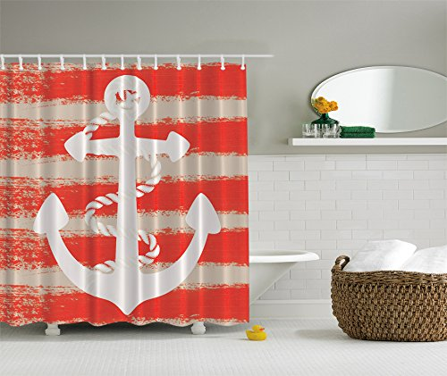 Ambesonne barca ancoraggio con corda a righe costiere Vintage 175,3x 177,8cm, Tenda da doccia, colore: bianco