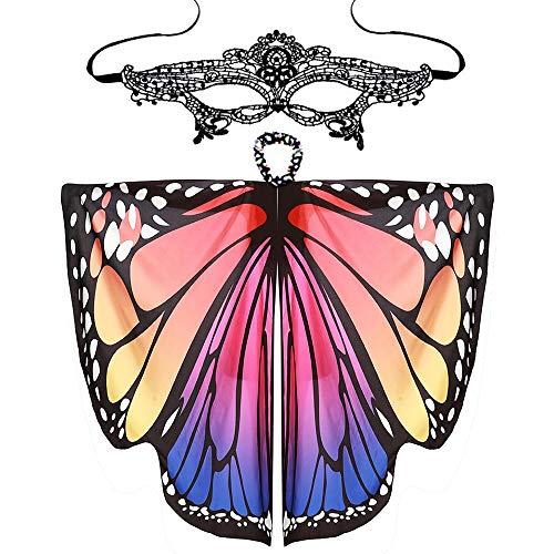Schal +Maske, Mode Stil Frauen Schmetterlingsflügel Schals Damen Nymphe Pixie Wing Poncho Zubehör Cosplay (Superwoman Outfit Ideen)