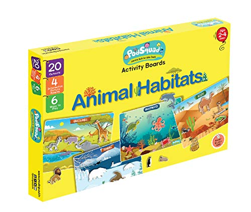 PodSquad Activity Boards to Learn About Animal Habitats. Ages 2-4. Perfect for Educational Gift and Travelling