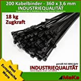 200 Stck Kabelbinder schwarz 360 x 3,6 mm Europäische Ware / Industriequalität