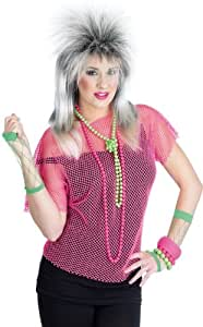 80s Neon Pink Disco Mesh Top Female Fancy Dress - One Size