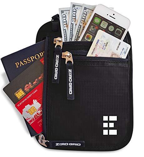 Portadocumenti da collo - porta passaporto - nero intenso - zero grid