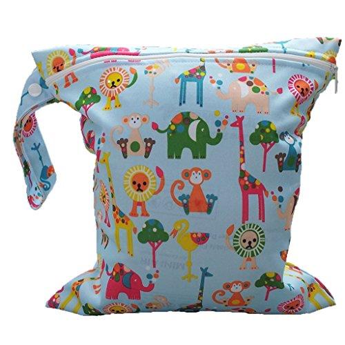 Sonline Sacchetto del pannolino lavabile con zip impermeabile (Modello multi animali blu)