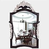 ZI LING SHO- Europäischer Alien-Badezimmer-Spiegel Retro- Wand-hängende, (Farbe : Deep Wood+pink Grapevine)