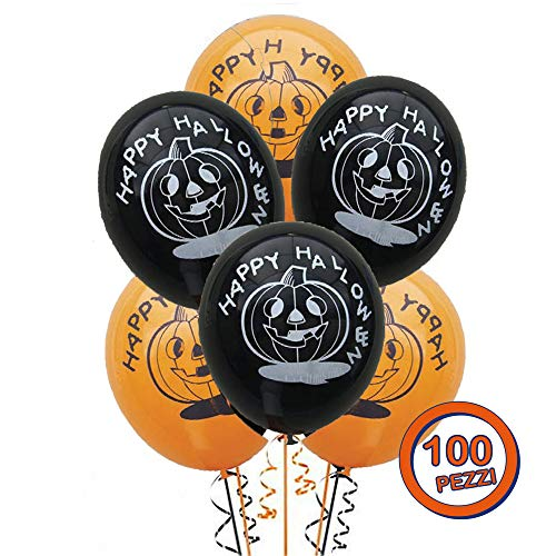 ocballoons Palloncini Happy Halloween in Lattice Zucca Kit Festa Set Addobbi Decorazioni Accessori per Feste Party Biodegradabili Confezione 100 pz MADE IN ITALY