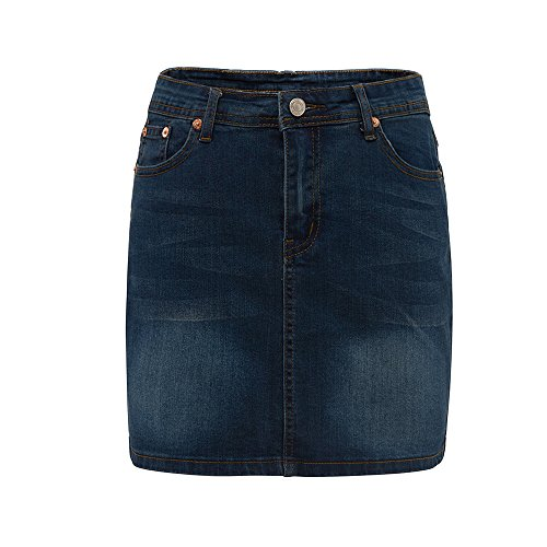 HONFON Damen Elastisch Sexy Denim Rock Mädchen Hohe Taille Mini Jeans Röcke Über Knie Länge