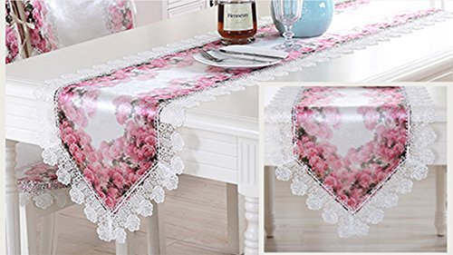 Preisvergleich Produktbild TaiXiuHome European Style Tischläufer mit Spitze Stoff für Dinning / Kaffee / Tee Tisch ca. 16x70 Zoll (40x180cm)