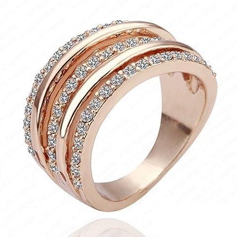 AnaZoz Joyería de Moda 18K Oro Rosa /Chapado en Platino Cristal Austria SWA Anillo de Compromiso de