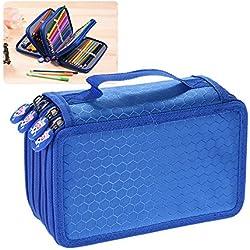 KKmoon Multifuncional de Gran Capacidad Caja De LáPiz , Pen Bag Pencil Case,con Cremallera de 4 Capas ,Color Azul