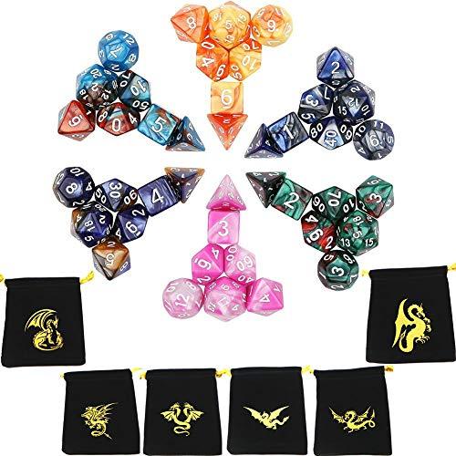 Poliédrico Dados, Colores Dobles Dados de Juego, para Dungeons and Dragons DND RPG MTG D20 D12 D10 D8 D6 D4 de mesa Juegos de cartas(6 sets,42 Piezas)