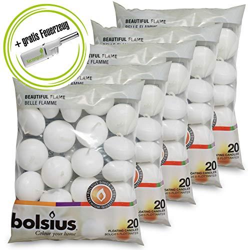 DecoLite: 100 Schwimmkerzen von Bolsius mit 4,5h Brenndauer & 1 Kerzenprofi Stabfeuerzeug - Farbe: Weiß