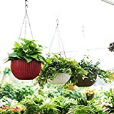 Tex Homz Hanging Baskets Rattan Waven Flower Pot Plant Pot with Hanging Chain for Houseplants Garden Balcony Decoration in Multicolor - 3 pcs