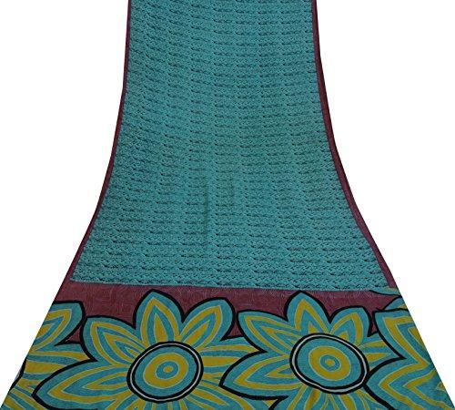 Blaue Saree (Vintage Indian Weinlese 100% Seide Teal Blau Saree Nizza Printed Ethnic Craft Fabric 5 YD)