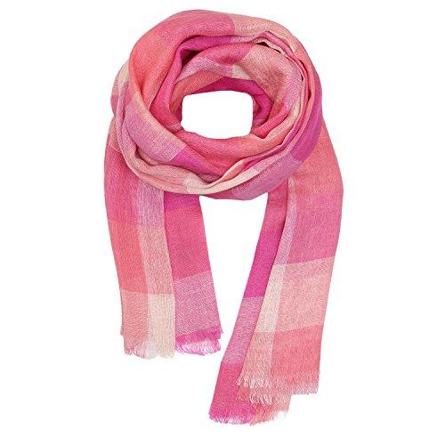 KASHFAB Kashmir Frauen Herren Sommer Mode Streifen Schal, Leinen stole, Weich Lange Schal, Stilvoll Paschmina Rosa 6 (Streifen Gemalt Herren)