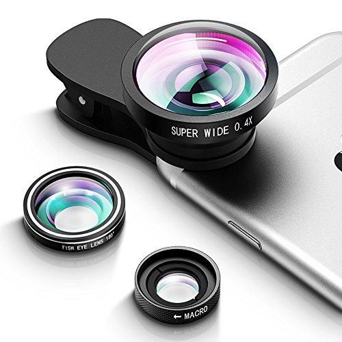 VicTsing 3in1 iPhone Objektiv, 2 abnehmbaren Klemmen+Fisheyeobjektiv+Makroobjektiv+0.4x Super Weitwinkelobjektiv, Kamera Objektiv Telefon Objektiv-Kit für iPhone, Samsung, HTC usw.