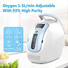 InLoveArts 1-5L/min Oxygen Concentrator Portable, LED Display Timing Function, Oxygen Adjustable O2 Generator with 93% High Purity (3L/min for Elderly)