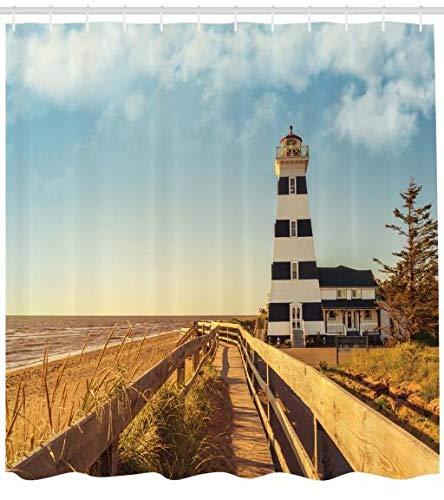 ABAKUHAUS Leuchtturm Duschvorhang, Leuchtturm Meer Wellen, mit 12 Ringe Set Wasserdicht Stielvoll Modern Farbfest und Schimmel Resistent, 175 x 200 cm, Multicolor - Meer Duschvorhang-sets