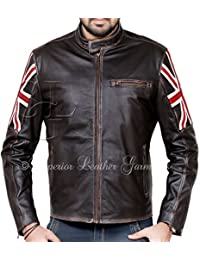 Mens Union Jack Motorcycle Cafe Racer Leather Jacket Hand Distressed Brown With U.K Flag