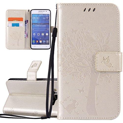 ISAKEN Compatibile con Samsung Galaxy Grand Prime G530 Custodia, Libro Flip Cover Portafoglio Wallet Case Albero Design in Pelle PU Protezione Caso con Supporto di Stand/Carte Slot/Chiusura - Gold