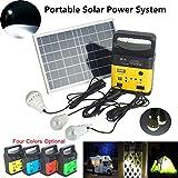 Solar Power Panel Generator LED Light USB Charger Home System FM Outdoor Garden