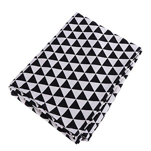 WINOMO Vintage Leinen Tischdecke Europäischen geometrische Muster Tischtuch waschbar für Tisch Abdeckung 140 x 220 cm (schwarz weiß Checker) (Checker Tischdecke Schwarz)