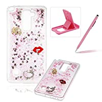 For LG Stylus 2 LS775/LG Stylo 2 K520 Liquid Case,For LG Stylus 2 LS775/LG Stylo 2 K520 TPU Silicone Clear Case,Herzzer Creative Luxury 3D Design Liquid Quicksand Floating Flowing Bling Glitter Sparkle Stars Love Hearts Triangle Sequin Anti Scratch Bumper Soft Rubber Back Cover For LG Stylus 2 LS775