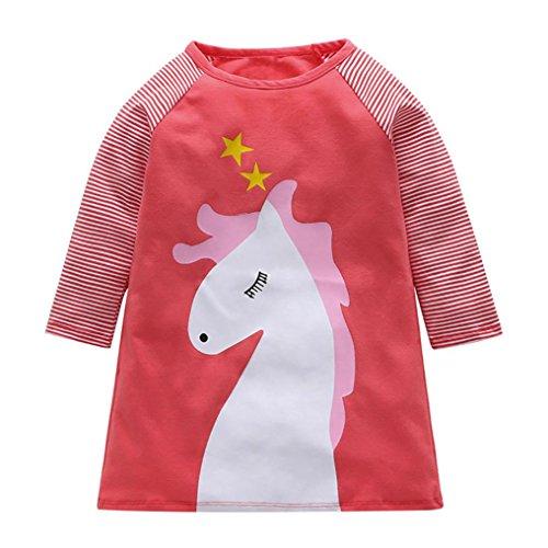(JERFER Baby Kleinkind-Mädchen Langarm Herbst Karikatur Prinzessin T-Shirt Kleid 2-6T (J, 18M))