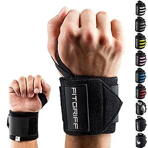 Fitgriff® Handgelenk Bandagen [Wrist Wraps] 45cm Handgelenkbandage für Fitness, Bodybuilding, Kraftsport & Crossfit – für Frauen und Männer