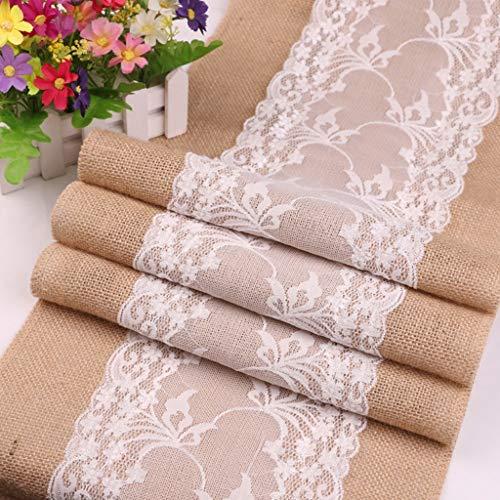 XHC Lace Table Runner Bianco, Retro Centrini all'Uncinetto Tovagliette Runner Tablelcoth, per Feste di Compleanno Matrimoni Baby Showers (30 * 275 cm)