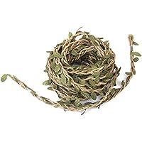 Fenical 10m hecho a mano guirnalda de ratán artificial hoja de vid plantas decoración DIY artes y oficios follaje verde hojas ratán corona decorativa para árbol de Navidad