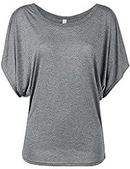 Bella Flowy Drapped Sleeve T-shirt Femme gris
