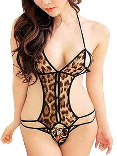 PHWOAR Animal Print Hot Sexy Lace Sleepwear with G - String Underwear Lingerie Self Design 2 Piece Nightwear Babydoll For Women  available at amazon for Rs.229