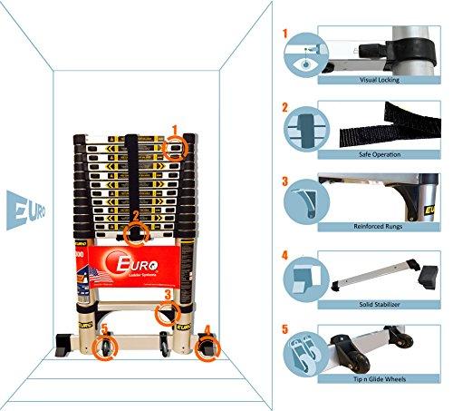 Euro Telescopic Aluminium ladder 5.2 mtr Stores at 3.5 feet Made in USA Ultra Portable