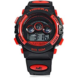 Leopard Shop HOSKA H001S Children Sports Wristwatch LED Digital Watch Day Chronograph LED Water Resistance Red Black