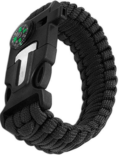 Outdoor Saxx® - 4-in-1 Outdoor-Armband, Survival Multitool Paracord-Armband, Überlebens-Armband, Kompass, Pfeife, Schaber, Messer, schwarz