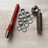 Öseneinschlagset - 50 Stück 2-teilige Rundösen verzinkt 10mm + passendes Werkzeug