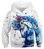 Fanient Kinder Junge Mädchen Hoodies 3D Drucken lebendige Tier Cartoon Grafik Sweatshirt Tasche Pullover Hoodie für 6-16 Jahre