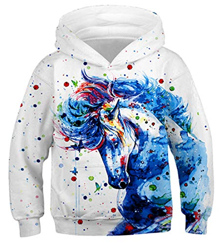 Fanient 3D Cool Drucken Sport Langarm Sweatshirts Pferd Pullover Hoodies für Teen Mädchens Weiß
