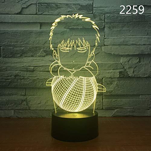 NACOLA 3D Nachtlicht Tisch Schreibtischlampe,Ballsportarten 7 Farben Optische Täuschung Touch/Remote Control Lichter mit USB Kabel