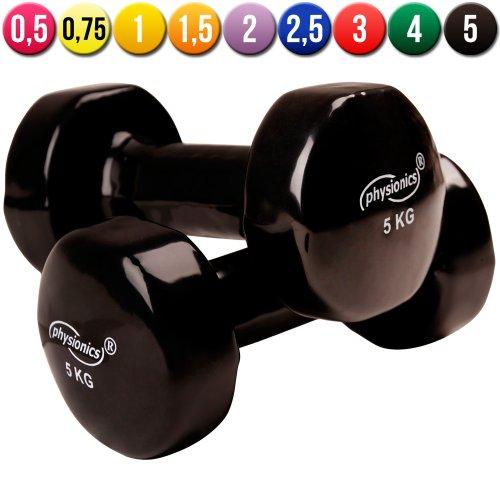 Physionics Manubri palestra fitness sport in vinile da 2x 5 kg