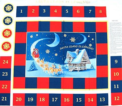 Santa Claus Is Coming Weihnachten Advent Kalender Stoffbahn-Pro Panel -