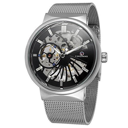 forsining Herren beliebtes Mechanische aufziehbar Ultra Dünn Edelstahl Armband Mesh Skelett Armbanduhr