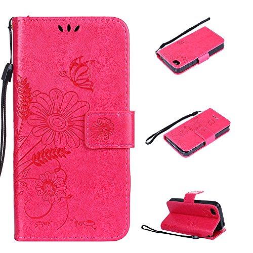 Cover per iPhone 4 / iPhone 4S, Vectady Custodia Cover in Pelle a Libro Portafoglio Wallet Magnetica Flip Cuoio Leather Case Protettiva Antiurto Caso con Porta Carte Funzione Cinturino da Polso Fiori Rosa Rosso Colore