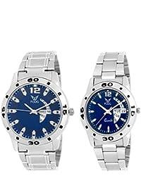 Fogg Analogue Blue Dial Unisex Watch Fogg Analog 5039-BL Couple Watch Combo