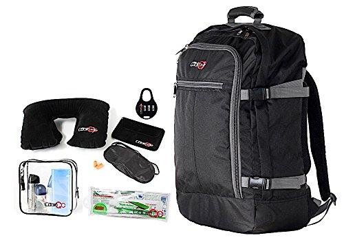 Cabin GO Zaino cod. MAX 5540 bagaglio a mano/cabina da viaggio, 55 x 40 x 20 cm, 44 litri approvato volo IATA/EasyJet/Ryanair (Nero/Grigio)